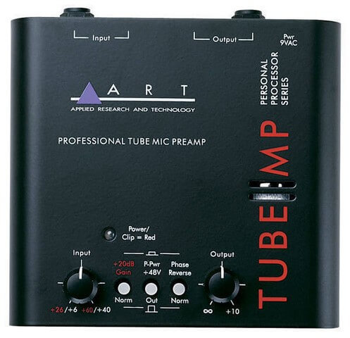 The ART tube preamp is a popular low-end preamp used for boosting microphone signals before recording