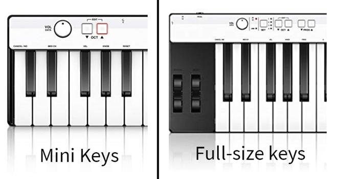 Full-size keys are longer than mini keys
