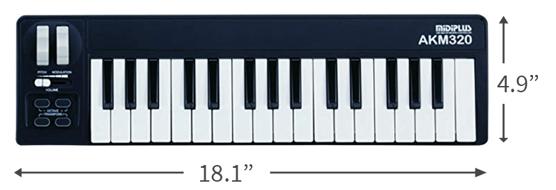 midiplus AKM320 is one of the smallest portable MIDI keyboards around