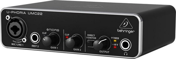 Behringer UMC-22 is the best entry-level audio interface for a home studio