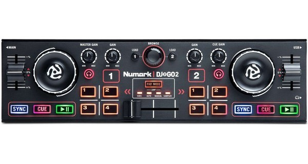 Numark DJ2GO2 is a tiny little DJ controller that's great for parties