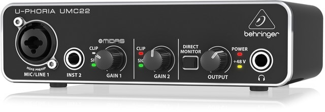 Behringer UMC22 is the best audio interface for beginners for budget buyers