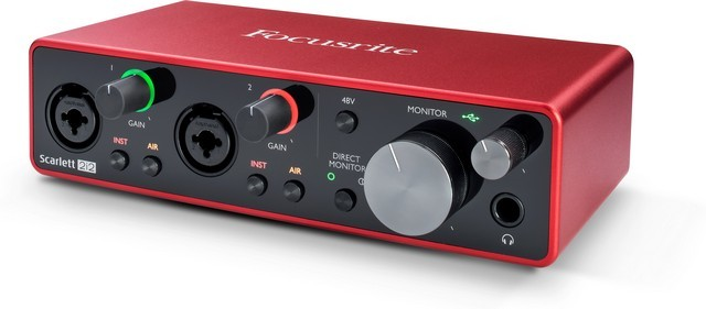 Focusrite Scarlett 2i2 is the best audio interface for Logic Pro X for budget users