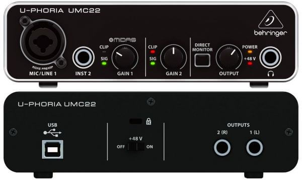 Behringer UMC22 is the best audio interface for FL Studio for budget buyers